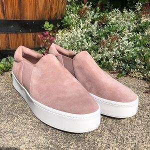 VINCE Warren Slip On Suede Platform Sneakers Blush